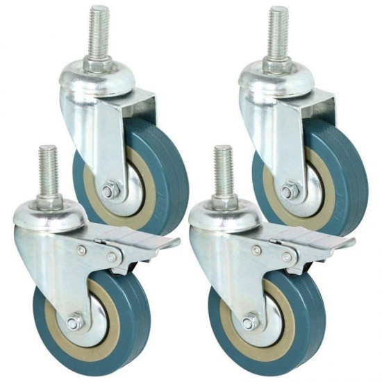 4PCS Heavy Duty 3 Inch Castor Wheels Complete Set