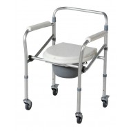 Aluminium Height Adjustable Commode Chair with Wheels