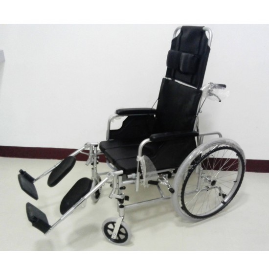 Aluminium Reclining Wheelchair with Commode