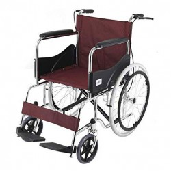 Basic Premium Wheel Chair Chrome Polished-Red