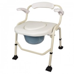 Deluxe Commode Shower Chair with Armrest (Soft Cushion)