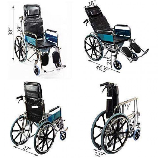Foldable Recliner Wheelchair with Soft U-Cut Commode Seat