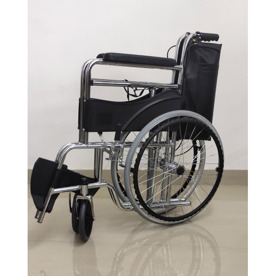 Folding Commode Wheelchair With Attendant Break