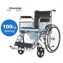 Folding Commode Wheelchair with Flip-up Armrest & Detachable Footrest