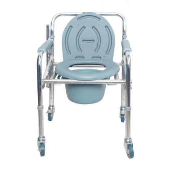 Karma Rainbow-11 Foldable Aluminium Commode Chair with Wheels