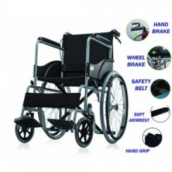 Lightweight Folding Wheelchair with Attendant Brakes On Rent