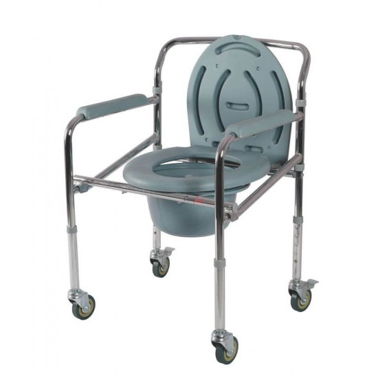 Vissco Comfort Steel Folding Commode Chair With Castors