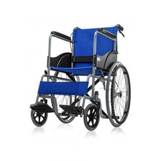 Wheelchair India - Basic Wheel Chair Powder Coated-Blue