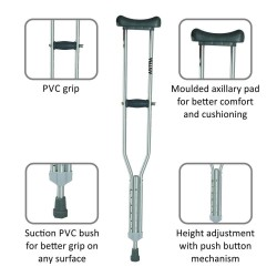 Vissco Astra Under Arm Crutches Aluminium - Large (1 Pair)