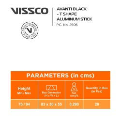 Vissco Avanti Plus Black T Shape Aluminium Stick
