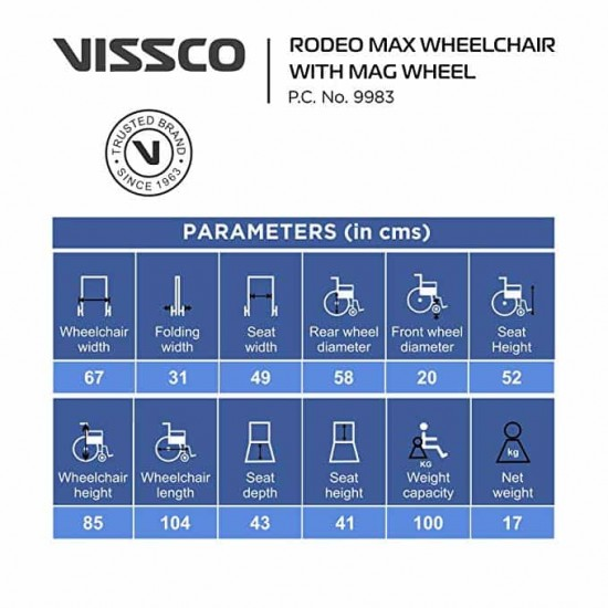 Vissco Rodeo Max Wheelchair with Mag Wheel